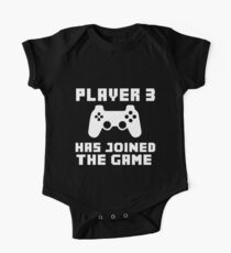 Player 3 has joined the game funny baby boy Short Sleeve Baby One-Piece