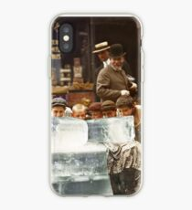 Licking blocks of ice during heat wave in New York, July, 1911 iPhone Case