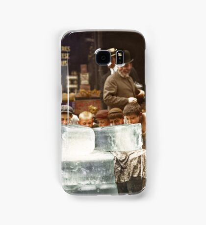 Licking blocks of ice during heat wave in New York, July, 1911 Samsung Galaxy Case/Skin