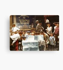 Licking blocks of ice during heat wave in New York, July, 1911 Canvas Print