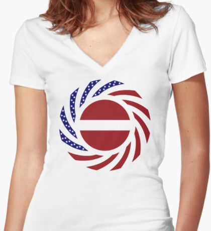 Latvian American Multinational Patriot Flag Series Fitted V-Neck T-Shirt