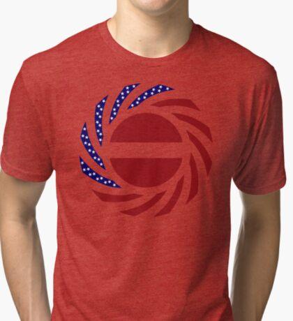 Latvian American Multinational Patriot Flag Series Tri-blend T-Shirt