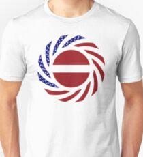 Latvian American Multinational Patriot Flag Series Slim Fit T-Shirt