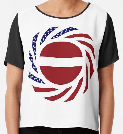 Latvian American Multinational Patriot Flag Series Chiffon Top