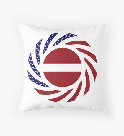 Latvian American Multinational Patriot Flag Series Throw Pillow