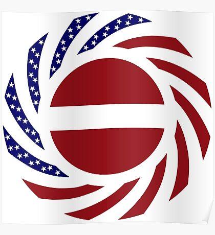 Latvian American Multinational Patriot Flag Series Poster