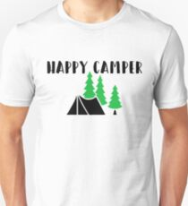 """Cute, Funny Camping """"Happy Camper"""" Unisex T-Shirt"""