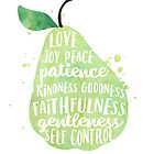 Fruit of the spirit watercolor pear by SouthPrints