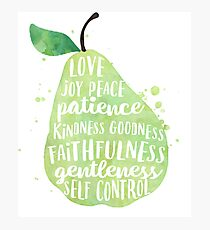 Fruit of the spirit watercolor pear Photographic Print