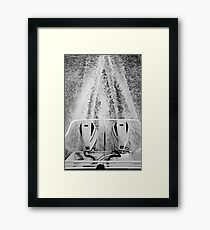 Twin Honda outboard motors with wake in the Coorong Framed Print