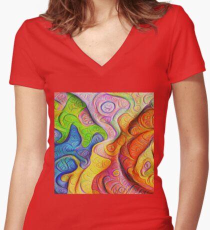 Color Cracks #DeepDream Fitted V-Neck T-Shirt
