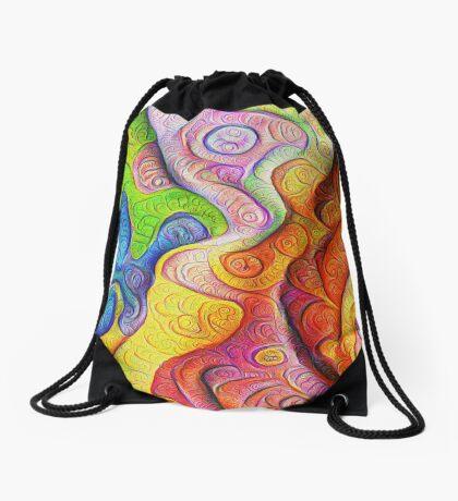 Color Cracks #DeepDream Drawstring Bag