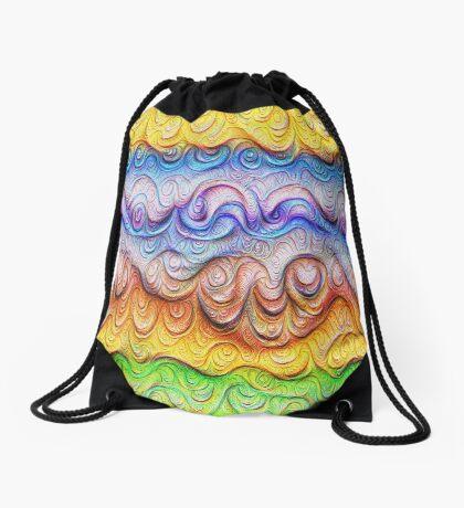 Tropical sea liquid lines and waves #DeepDream Drawstring Bag