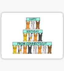 Connecticut Happy Birthday Cats Sticker