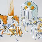 Coffee at the Cathedral - cows and people painting by MikeJory