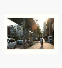 Bicyclist in Nagoya, Japan Art Print