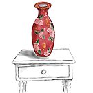 Watercolor Sketch Still Life with Red Floral Vase by Sarah Countiss