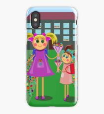 little girls going to school with bouquets of flowers iPhone Case/Skin