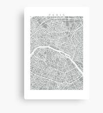 Paris Map (Light Grey) Canvas Print