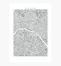 Paris Map (Light Grey) Photographic Print