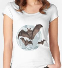 Bats in the full moon Women's Fitted Scoop T-Shirt
