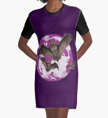 Bats in the full moon Graphic T-Shirt Dress