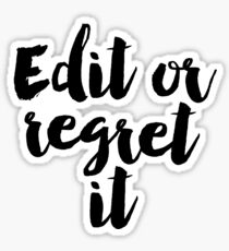 "Gift Writing Classroom Decor FUNNY QUOTE Writer's Office Wall Art Editor Teacher ""Edit Or Regret"" It Typographic Print Proofreading Poster Sticker"