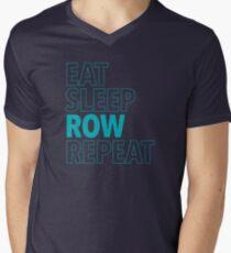 Eat, Sleep, Row, Repeat (Aqua) Men's V-Neck T-Shirt