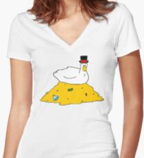 Fabulously Wealthy Duck Women's Fitted V-Neck T-Shirt