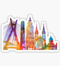 Sao Paulo landmarks watercolor poster Sticker