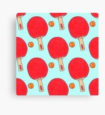 Hand drawn watercolor ping pong racket and ball Canvas Print