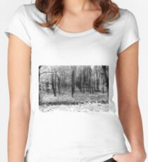 Autumn woods bw Women's Fitted Scoop T-Shirt
