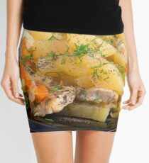 Dish of stewed potatoes with meat and spices Mini Skirt