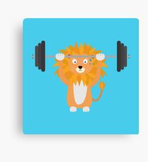 Weight lifting lion Canvas Print