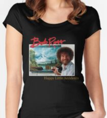 Bob Ross 90s Print Women's Fitted Scoop T-Shirt