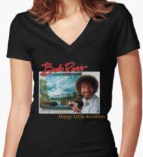 Bob Ross 90s Print Women's Fitted V-Neck T-Shirt