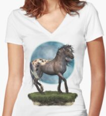Storm .. an appaloosa stallion Women's Fitted V-Neck T-Shirt