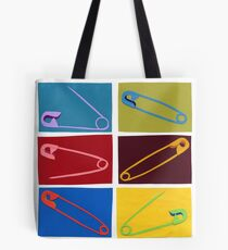 6 multi-colored safety pin Tote Bag