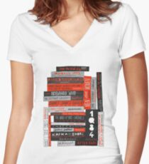 Murakami Book Stack Fanatic (Colour) Women's Fitted V-Neck T-Shirt