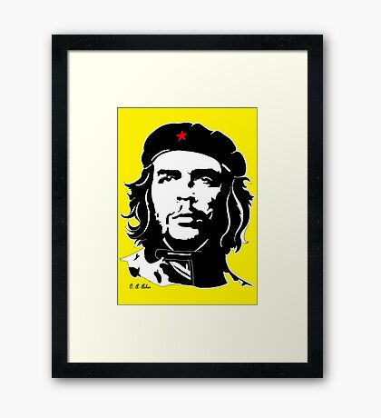 Che Guevara yellow background Framed Print