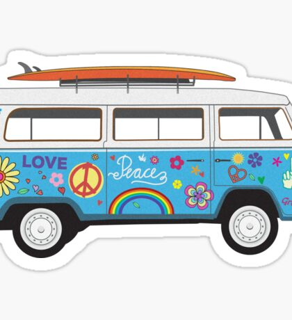 Beach Hippie Van Sticker