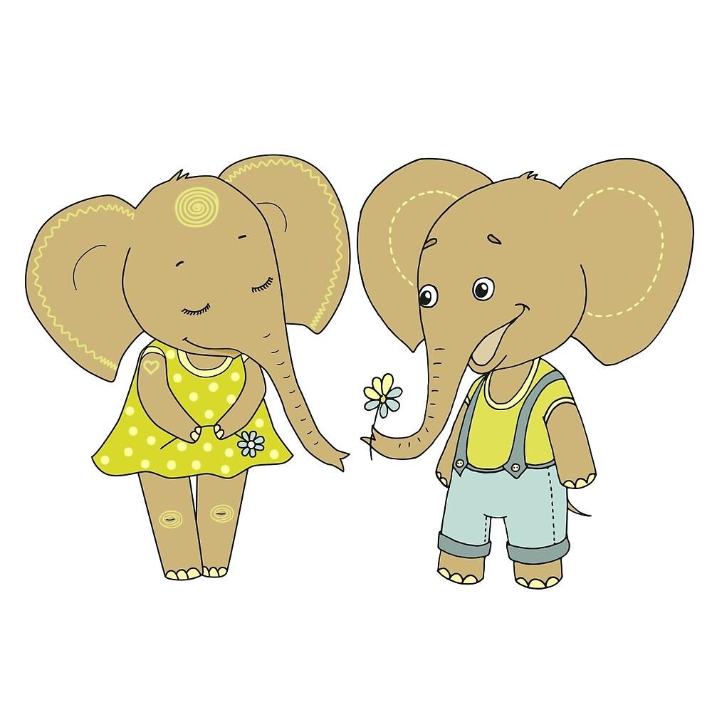 Couple cute elephants fallen in love by MayyaIva