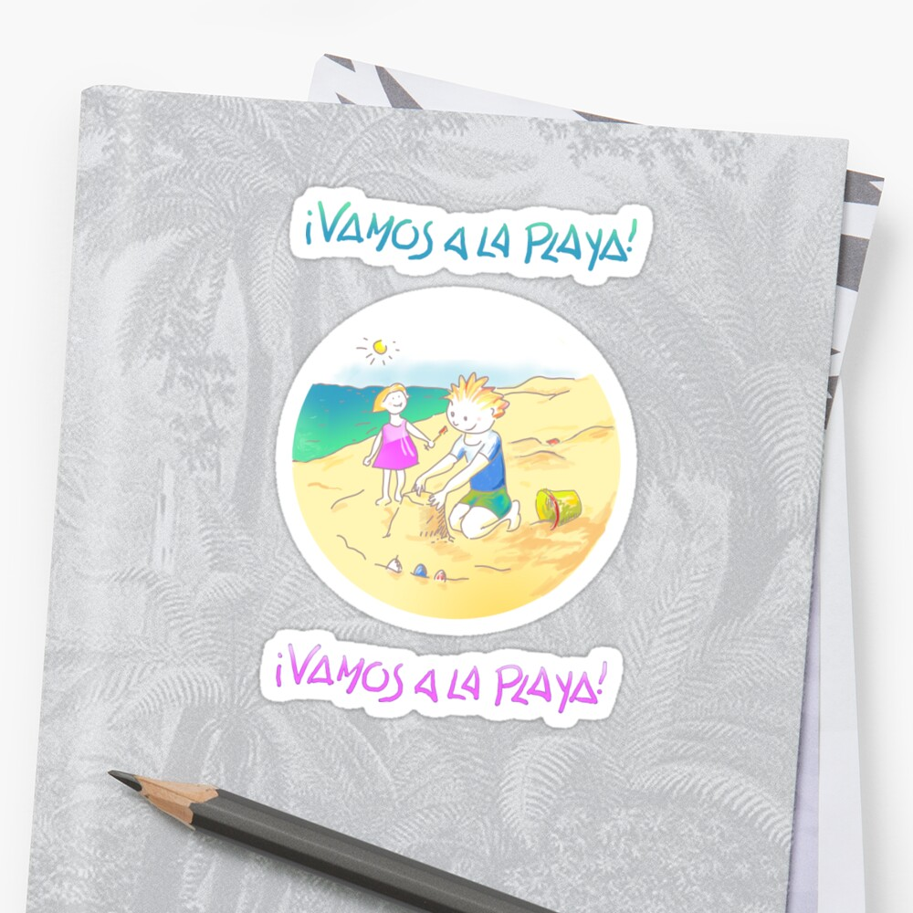 LET´S GO TO THE BEACH, KIDS! · ¡VAMOS A LA PLAYA, NIÑOS!  Sticker