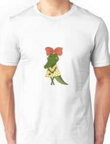 Crocodile girl with closed eyes having flower in her hand Unisex T-Shirt