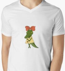 Crocodile girl with closed eyes having flower in her hand T-Shirt