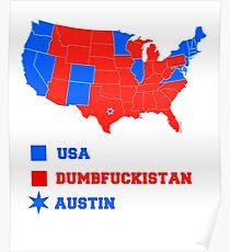 Dumbfuckistan Posters Redbubble - Tee shirt us map dumbfuckistan