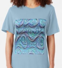 Frozen sea liquid lines and waves #DeepDream Slim Fit T-Shirt