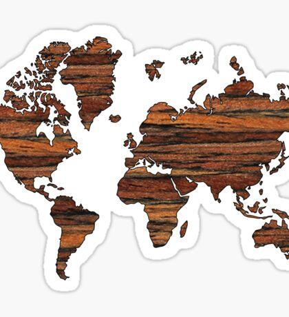 Wooden World Map Sticker