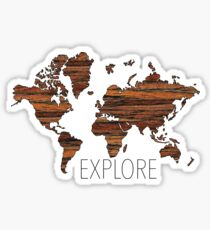 Explore World Map Sticker