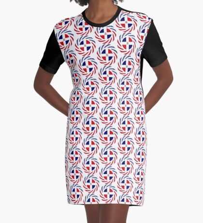Dominican American Multinational Patriot Flag Series Graphic T-Shirt Dress